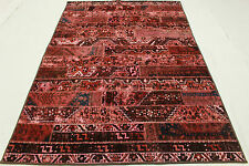 Patchwork Orient Teppich Vintage rot rosa 250x170 Used Look handgeknüpft 1267