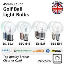 45mm Round Golf Ball Light Bulbs - 60w,40w,25w - ES SES BC SBC - Clear/Opal