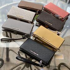 Michael Kors Medium Large Leather Credit Card Wristlet Wallet Black Brown Grey