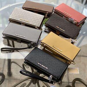 Michael Kors Women Leather Card Holder Phone Case Wallet Clutch Purse Wristlet