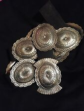 L. James Native American VTG Concho Leather Belt THICK Sterling silver old pawn