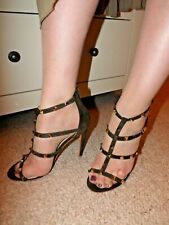 Primark stunning Khaki studded strappy high heel sandals - size 5 / 38