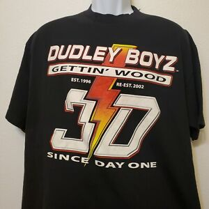 2002 Dudley Boys Tag Team 3-D WWE Wrestling T-Shirt XL Blood Is Thicker Wood