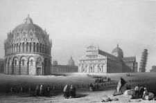 ITALY Pisa Leaning Tower & Baptistry - 155 Years Old Antique Print Engraving