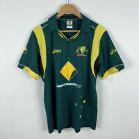 Australia Cricket Shirt Jersey Mens Medium Asics Short Sleeve Polo