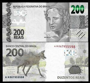 BRAZIL - PICK NEW - 200 REAIS - 2000 - GEM UNC - WOLF - PREFIX AH