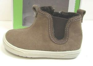 """Stride Rite Size 2 Memory Foam Brown Leather Baby Boys Shoes Boots 3.7"""" Insole"""