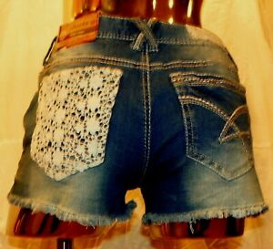 Amethyst Jean Shorts Womens Juniors Size 3 Cut Off Med Wash Light Bling Lace NWT