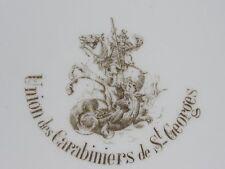 04E25 ANCIENNE ASSIETTE DE SOCIÉTÉ UNION DES CARABINIERS DE ST GEORGES SUR L'AA
