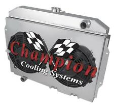 """2 Row Rel Champion Radiator W/ 2 12"""" Fans and Shroud for 1968 - 1974 AMC Javelin"""
