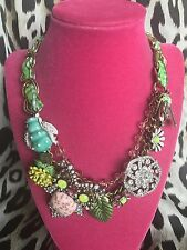 Betsey Johnson Vintage Critters Rosebud Owl Green Checkered Bug Insect Necklace