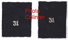 Chiffre 31 brodé cannetille argent sur fond noir - Ecussons de col d'Officier