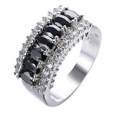 Black Sapphire Wedding Band Ring White Gold Jewelry Women Size 6 7 8 9 10 11 12