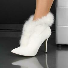Gorgeous Ankle Boots Shoes Faux Leather Faux Fur White #HP160