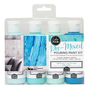 American Crafts Color Pour Pre-Mixed Tidal Wave Pouring 4-Piece Paint Kit