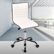 White Office Task Chair Ribbed Leather Rolling Swivel Mid Back Computer Desk US