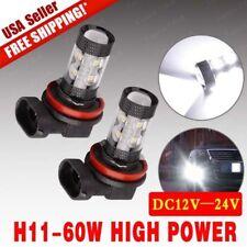 2x 6000K White H11 2323 1900LM High Power 60W LED DRL Fog Light
