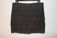 Women's American Eagle Outfitters ~ Brown Lace Polyester Mini Skirt ~ Size 2