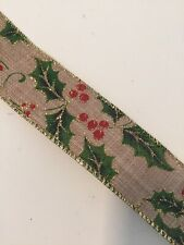"""Holly Berry Burlap Christmas Wire Edged Ribbon 1-1/2"""" x 5 Yards"""