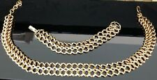 """Signed Monet Gold Tone Chunky Chain Link Graduated 18.5"""" Necklace 7.5"""" Bracelet"""