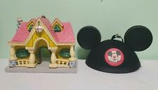 Disney Toon Town Mickey Mouse House MousekeEars Ornament Set Of 2