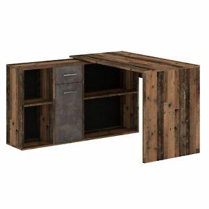 Eckschreibtisch mit Regal Büro Arbeits Winkelschreibtisch Old Style/Beton dunkel