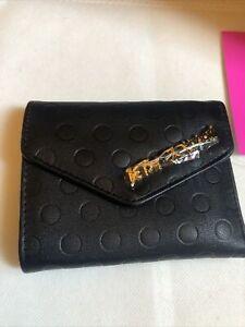 Betsey Johnson Flap Wallet XOLANA Black With  Embossed Polka Dots Gold Logo NWT