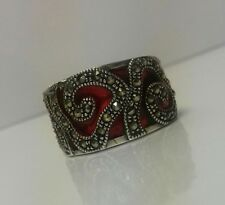 "NEW Sterling Silver Marcasite Red Enamel Ring Statement Band UK size ""O"" 6.8g"
