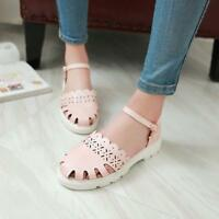 Sweet Womens Round Toe Hollow Out Ankle Strap Mary Jane Girl Flat Shoes Sandals@