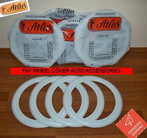 "ATLAS 10 inch "" White Wall Portawall Tire insert trim Set x4 Austin mini cooper"