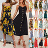 Womens BOHO Summer Beach Midi Dress Ladies Holiday Strappy Button Cami Sundress