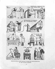 Railway station buffet.Stale scones.W.Heath Robinson.Antique print.1935.Absurd
