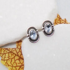 Blautopas blau oval Nostalgie Design Ohrringe Ohrstecker 925 Sterling Silber neu