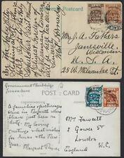 PALESTINE 1925 TWO POST CARDS JERUSALEM CANCEL TYING LONDON II PRINTING TO US &