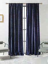 Anthropologie Curtain Panel Petra Velvet Navy Blue Taupe Trim Single 50 x 84 NEW