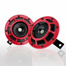 Zone Tech 2 Dual Supertone Hi Lo 12V Electric Grille Mount Red Hella Horn Kit