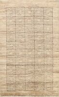 Modern Gabbeh Geometric Oriental Area Rug Hand-knotted Home Decor Carpet 6'x9'