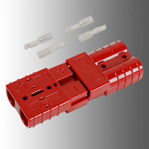 Satz Batteriestecker mit Kupplung rot Anderson SB 50/Rema SR 50 AWG6 16mm²