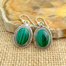 Malachite 925 sterling Silver Oval Drop Earrings Indian Jewellery