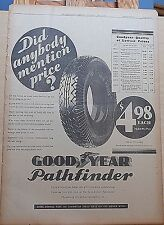 1931 full page newspaper ad for Goodyear - Pathfinder tires, car & tires list