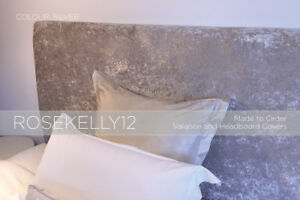 Crushed Velvet Elasticated Headboard Cover - Bespoke Size, Made to Order