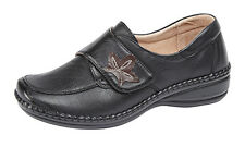 Womens Ladies Extra Wide Fit Touch Fastening Casual Shoes Size 3 - 9 BLACK
