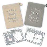 Baby Shower Game - 30 BABY PREDICTION /ADVICE /WISHES CARDS with KEEPSAKE POUCH