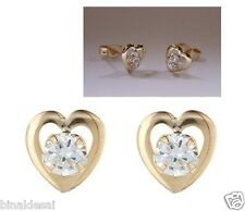 Girls Ladies 9ct Gold Heart Round Small White CZ Studs Earrings B'Day GIFT BOX N