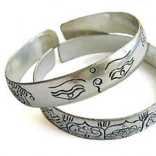 "Large Tibetan Silver Plated Buddha Eye 8 Auspicious Symbol Cuff Bracelet -6 1/2"""