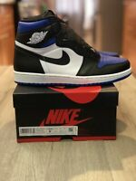 Air Jordan 1 Retro High OG size 9.5. White Blue Black. Royal Toe 555088-041.