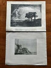 2 National Gallery Washington Art Repros Rembrandt Van Rijn Three Trees Windmill