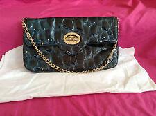 Elaine Turner Leather Green Animal Print Clutch Flap Handbag