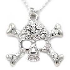 Clear Stone Silvertone Skull Crossbones Charm Anklet Ankle Chain Bracelet AK61