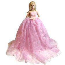 Barbie Pink Wedding Dress Gown Princess Chapel Train Tull Wedding Dress Pink